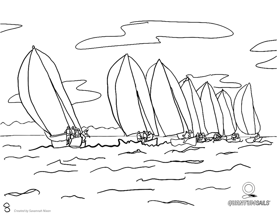 Sailboat #47 (Transportation) – Printable coloring pages | 695x900